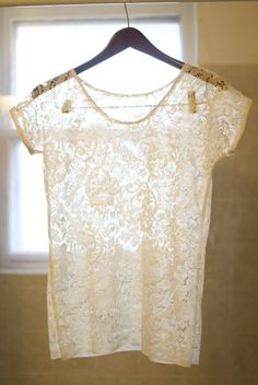 Use a curtain, or an odd lace dress from the thrift store. Lace Top Tutorial » Yellow Suitcase Studio