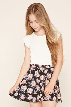 Forever 21 Girls - A knit skater skirt featuring an allover floral print and an elasticized waist.