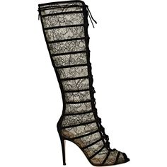 Gianvito Rossi Women's Lace & Suede Knee Boots ($919) ❤ liked on Polyvore featuring shoes, boots, black, knee-high boots, black knee high lace up boots, knee high boots, lace up high heel boots, black suede boots and high heel boots