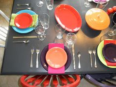 fiestaware table settings and painted table and chairs