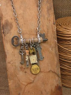Upcycled Jewelry Jute Wrapped Skeleton Key