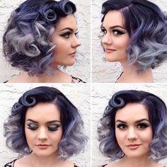 Hair color ideas for short hair Hair color ideas for short hair … Cute Hairstyles For Short Hair, Retro Hairstyles, Bob Hairstyles, Curly Hair Styles, Trendy Hair, Short Haircuts, Everyday Hairstyles, Purple Hair, Ombre Hair