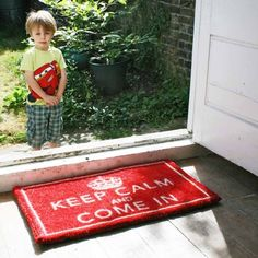 Keep Calm Door Mat. you knew it had to happen eventually! Cute Door Mats, Keep Calm Quotes, Camping Checklist, Kids Decor, Home Decor, Welcome Mats, Room Colors, Play Houses, Cool Gifts