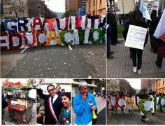 en la protesta, la pancarta esta hecha de 1800 cuadrados tejidos. VIVA CHILE!!!