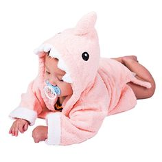 Amazon.com : Pink Shark Hooded Toddler Bathrobe for Girls by Izzy & Roo (6-12 Months) : Baby