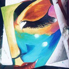 """Картина """"Инопланетянка"""", акриловые краски, поп-арт, размер 40*50 см"""