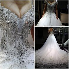 High Quality Sexy Luxury heavy Beaded 2013 New Arrival real sample Wedding Dress with Crystals Bridal