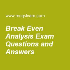 Break Even Point Example  Cost Accounting    Cost