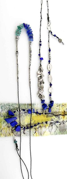 lapis lazuli, sea glass and fine silver; kathy van kleeck