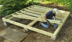 How to Build a Better Backyard Storage Shed Shed Floor Frame of pressure treated lumber Backyard Storage Sheds, Backyard Sheds, Outdoor Sheds, Shed Storage, Backyard Landscaping, Garden Sheds, Backyard Buildings, Firewood Storage, Cheap Sheds
