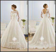 2014 New arrival high neck and low back lace appliques wedding dress with long sleeves US $302.00