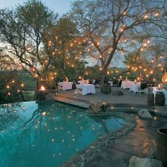 Add some lanterns around the pool area for an awesome effect!