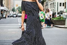A Sporty, Yet Feminine Way To Wear A Off-The-Shoulder Maxi Dress