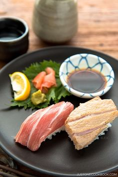 Otoro Sushi - Enjoy this prized part of the tuna two ways, seared and drizzled with yuzu juice or just with a bit soy sauce. Either way it melts in your mouth! @JustOneCookbook®