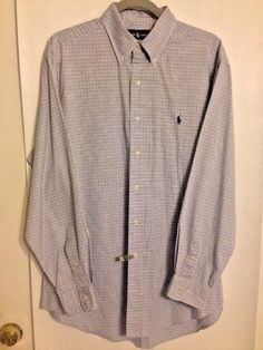 Ralph Lauren Yarmouth Size 16 34/35 Blue Oxford Plad Dress Shirt 100% Cotton #RalphLaurenYarmouth #ButtonFront