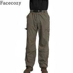 Facecozy New Men Outdoor Camping&Hiking Pant Male Sports Fishing& Climbing Quick-Dry Pants Removable Breathable Trousers Shorts Hiking Pants, New Man, Outdoor Camping, Quick Dry, Climbing, Parachute Pants, Trousers, Sweatpants, Shorts