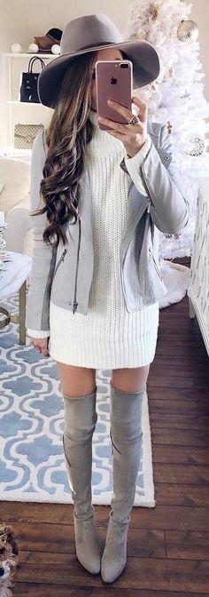 #winter #fashion /  Grey Hat / Grey Jacket / White Knit Dress / Grey OTK Boots