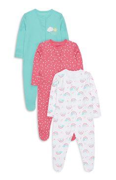 Primark - Baby Girl 3Pk Rainbow Sleepsuits