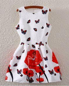 Moda de la mariposa de impresión sin mangas del vestido de la llamarada para las mujeres
