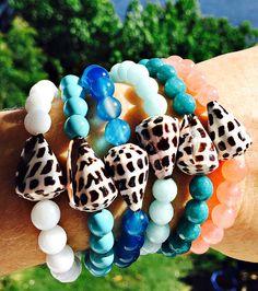Denim Blue Agate and Seashell Stretch Bracelet. Sea by KailuaKai