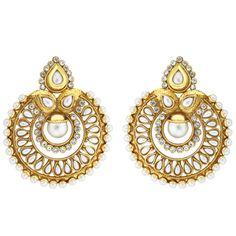 Viyari Goldtone Ramleela Round Chandbalis Earrings with Simulated Pearl and CZ