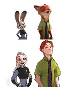 Judy and Nick, Zootopia, http://emilyena.tumblr.com/post/140819481020