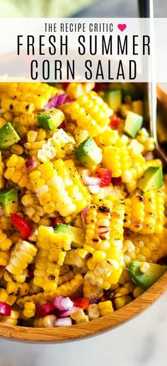 Summer Corn Salad definitely can (and should be!) enjoyed all year round! It's a fresh corn salad made with onion, bell Fresh Corn Salad, Summer Corn Salad, Summer Salads, Grilled Corn Salad, Spinach Salad, Cold Corn Salad, Shrimp Salad, Tuna Salad, Caesar Salad