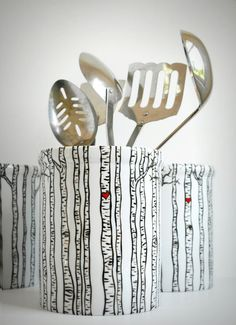Birch Tree Forest Utensil Holder - Hand Painted Trees on white Porcelain by MaryElizabethArts.com