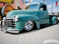 1952 Chevy Truck looking awesome in turquoise.