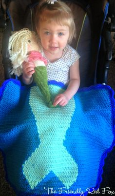 Free Crochet Mermaid Tail Blanket Pattern. Super cute and functional! I love how it wont slip off and actually keeps them warm.