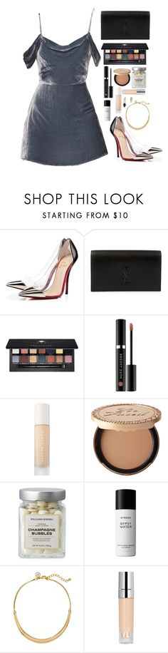 """Untitled #520"" by emmeleialouca ❤ liked on Polyvore featuring Christian Louboutin, Yves Saint Laurent, Sephora Collection, Puma, Too Faced Cosmetics, Liberty, White House Black Market and Loren Stewart"