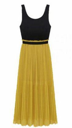 Black Yellow Sleeveless Elastic Waist Pleated Dress