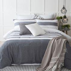 $129 - Provincial Grey Quilt Cover Set (Pillow Talk)