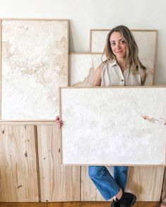 Abstract artist Kaleen Cameron posing with her new collection to be released in May Grey Abstract Art, Oil Painting Abstract, Abstract Canvas, White Canvas Art, Plaster Art, Boho, Pink Blue, Frames Ideas, Draw