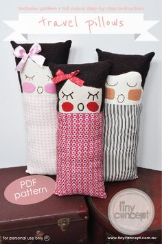 Travel Pillows Pattern @tinyconcept $6.00 #diy #craft #sew #handmade #cute #doll #face #make #pattern #pdf