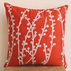 Decorative Pillow Sham Covers Accent Pillow Couch Pillow 24 Inch Silk Pillow Sham Cover Embroidered Coral Orange Willow Home Living Decor