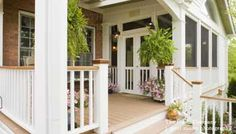 Could you go from front steps and just extend porch out from there without blocking dining room light? front porch idea: includes the screened in porch as well as a deck-like area.