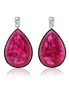 Rubellite high jewellery earrings in white and rose gold with diamonds by Brazilian jewellery designer Ara Vartanian.