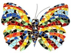 Mosaic Butterfly Sculpture - this would be gorgeous in Crewel