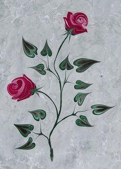marblingart rose sayitkarabulut Paper Marbling, Ebru Art, Turkish Art, Marble Art, Cherub, Fabric Painting, Tulip, Book Art, Decoupage
