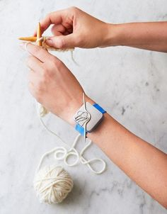 Introducing Knitter's Keep. A fabulous and comfortable silicone slap bracelet that fits any wrist. The best part about it? The brushed steel-plated magnet that