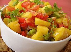 Mango Peach Salsa, SOOOOO good!