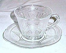 Depression Glass - Hazel Atlas - Royal Lace - Clear Cup & Saucer Sets