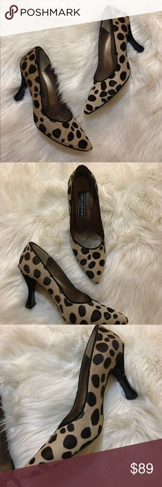 Stuart Weitzman Leopard Print Pumps Pony hair pumps, Suede heel. Minimal wear, in good condition. Please look at the pictures as they show the minor flaw it has on the left heel inner side. Other than that these are timeless and super cute for work or a night out . 3 1/2 inch heel pointed toe and gold lining. Stuart Weitzman Shoes Heels