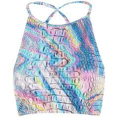 Holographic Croc Crop Bikini Top by Jaded London (140 RON) ❤ liked on Polyvore featuring swimwear, bikinis, bikini tops, multi, strappy bikini, high neck tankini top, strappy high neck bikini top, strappy swim top and swim tops