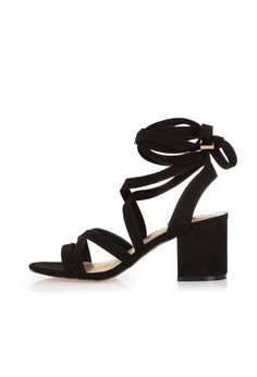 Checkout this Black soft tie heel sandals from River Island