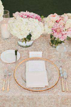 Specialty Linens from LaTavolaLinen.com -- SO pretty! See more here: http://www.StyleMePretty.com/california-weddings/2014/05/15/pink-and-gold-wedding-at-the-london-west-hollywood/ Photography: onelove-photo.com