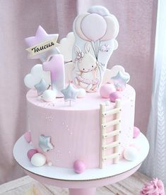 1st Birthday Cake For Girls, Baby Birthday Cakes, Pretty Cakes, Beautiful Cakes, Easter Bunny Cake, Fantasy Cake, Birthday Cake Decorating, Girl Cakes, Fondant Cakes