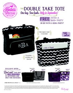 Thirty-One September 2014 Hostess Special! The new Double Take Tote is only $31 with any $200 party, or FREE with a $600 party! Www.mythirtyone.com/danis