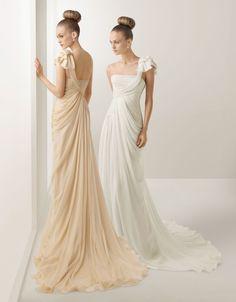 A-line One-shoulder Court Train Wedding Dress